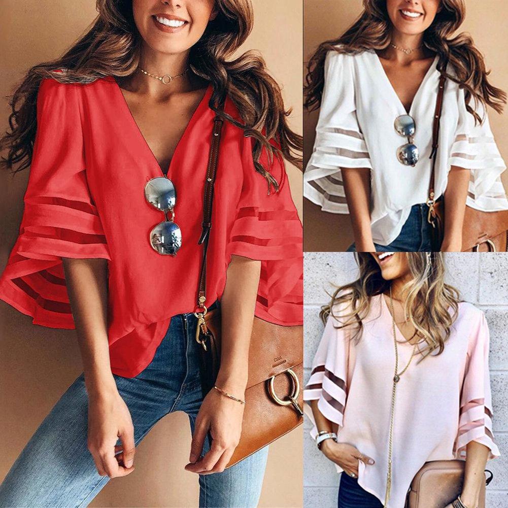 db5f935907 Zehui Camisa de Moda para Las Mujeres con Cuello en V Tipo de Gasa ...