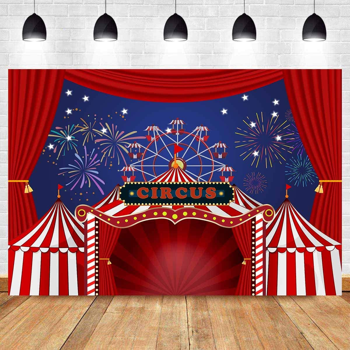 10x6.5ft Funfair Red Camp Background for Photography Carnival Themed Party Backdrop Photo Props DSFU219