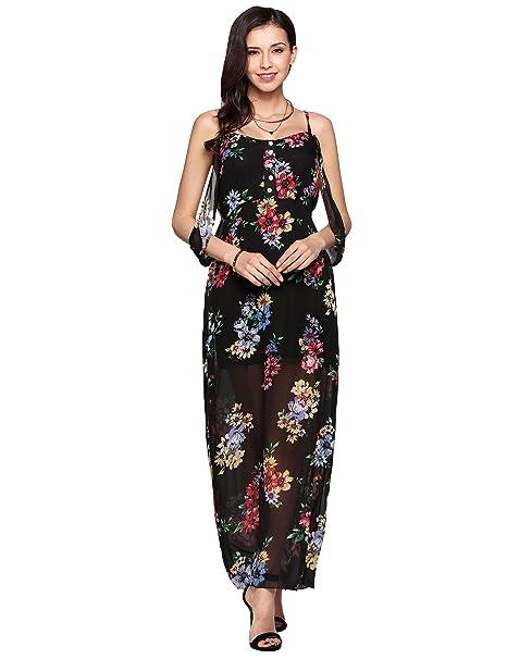 511c39ace3b7 Women Spahgetti Strap Chiffon Maxi Floral Print Sleveless Halter Bohemian  Beach Dress at Amazon Women's Clothing store: