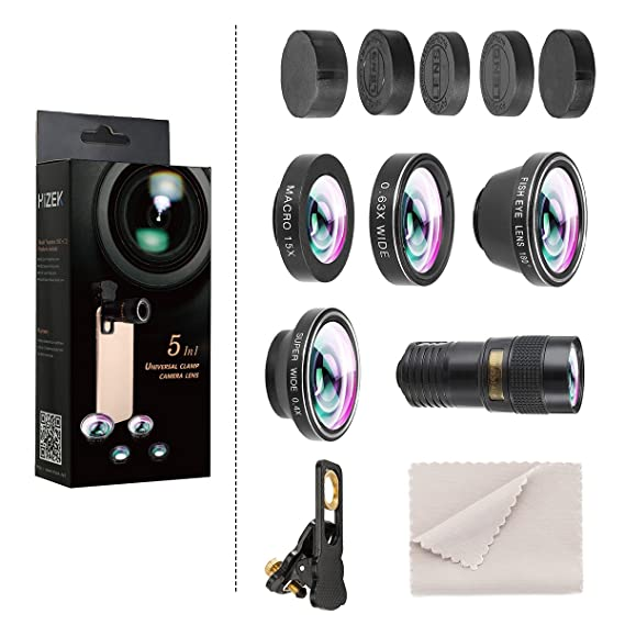 Hizek Phone Lens, 5 in 1 Phone Lens kit with 180 ° Fisheye Lens+0 63X Wide  Angle Lens+Macro Lens+9X Telephoto Lens+0 4X Wide Lens for iPhone Xs XR