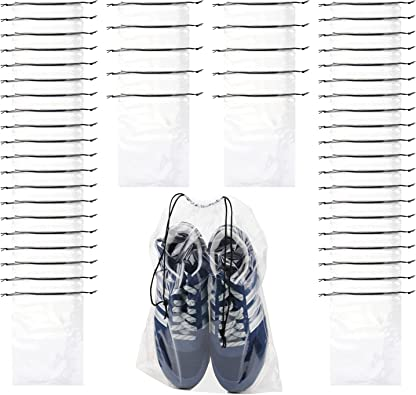 30 PCS Travel Transparent Shoe Bags -Waterproof Storage organizers With Drawstring, packing pouch organizers