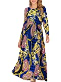 Women's Long Sleeve Floral Casual Loose Boho Maxi Dress with Pockets