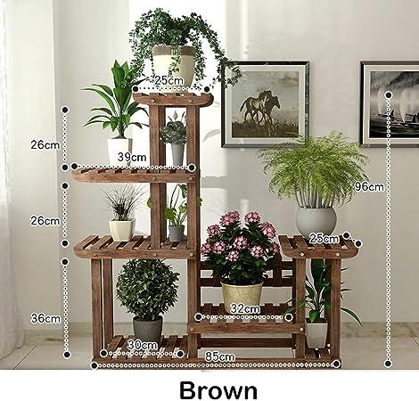 GLY Planta de exhibición Escalera Estante Estantes for Flores Macetas de Madera Soporte de Almacenamiento en Rack Unidad de estantería for decoración Interior y Exterior (Color : Brown): Amazon.es: Hogar