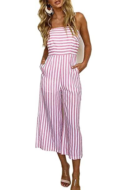 b66e0fcdfee Amazon.com  Hibluco Women s Sexy Halter Jumpsuits Striped Backless ...