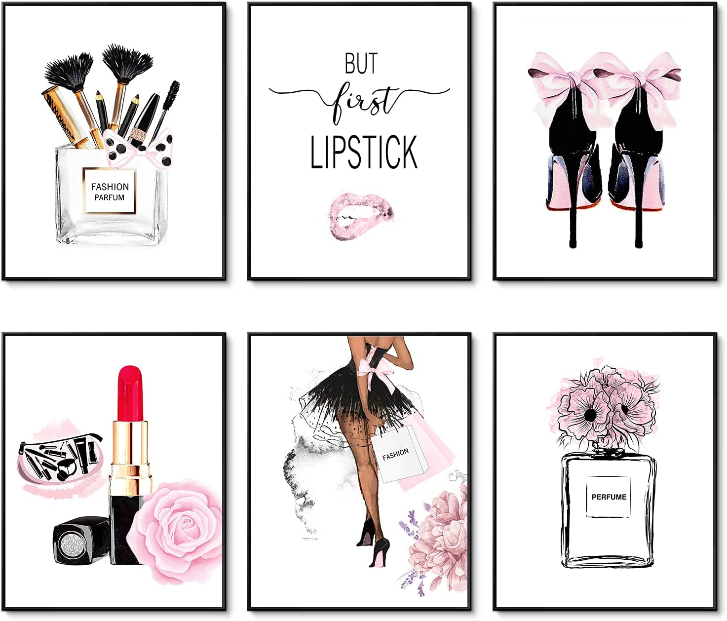Fashion Wall Art Prints Set of 6 Pink Room Decor Pictures Wall Decor Canvas Art Posters Perfume Lipstick Makeup Wall Decor Artwork Girls Room Pictures for Bedroom (8