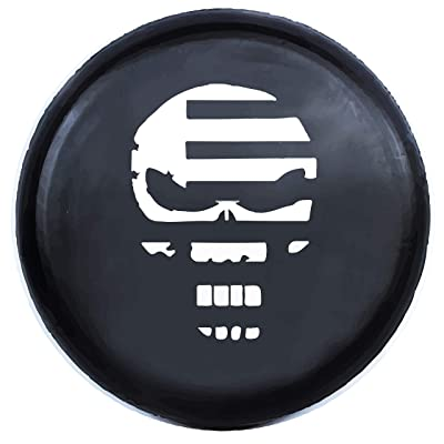 Kenkesh Skull Spare Tire Cover for RV, Jeep Wranglers, Boat Trailer. Choose from Multiple Designs with Flag & Crossbones. Rugged Weather Resistant Leather Grain Vinyl (XL(17 INCH), Skull 6): Automotive