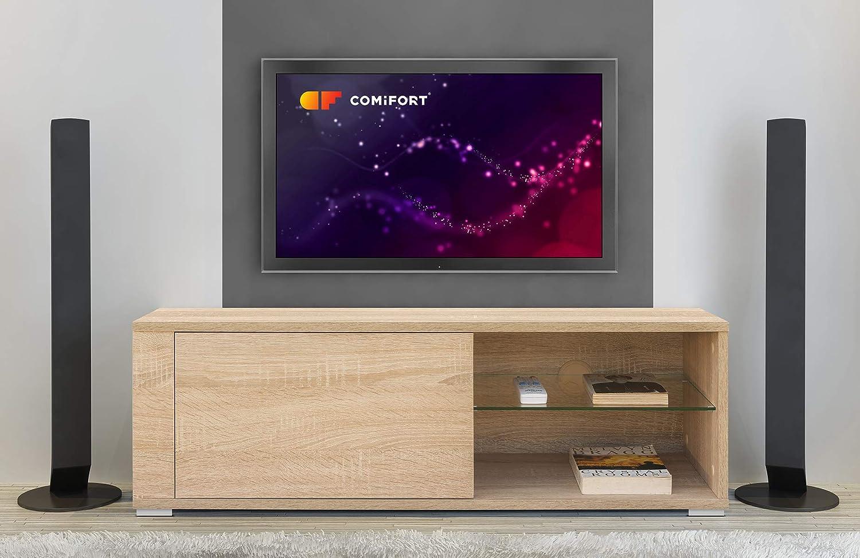 COMIFORT Mueble de TV - Mesa de Salón Moderno, Puerta con Sistema Click, Estante de Cristal Templado, Muy Resistente, Fabricado en Europa, Color Roble: Amazon.es: Hogar