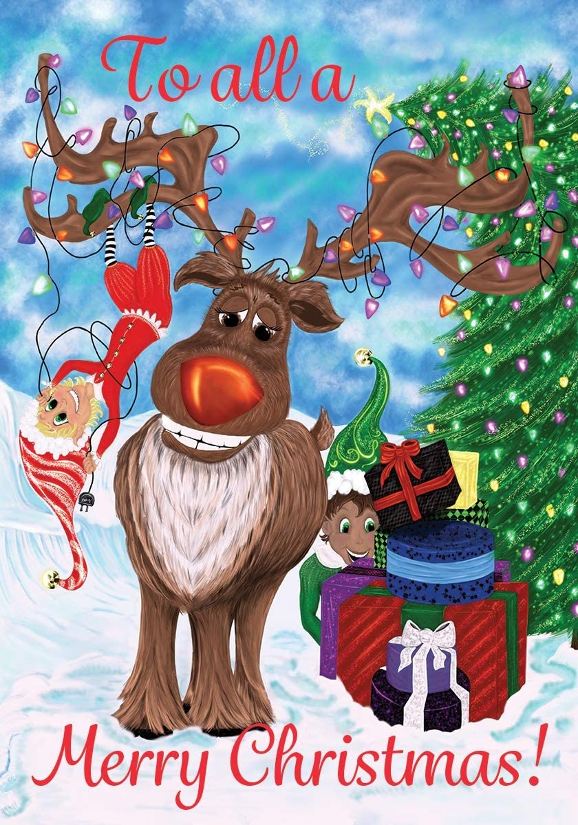 Custom Decor Elves & Reindeer - Merry Christmas - Standard Size, Decorative Double Sided, Licensed and Copyrighted Flag - Printed in The USA Inc. - 28 Inch X 40 Inch Approx. Size