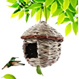 Kimdio Bird House,Winter Bird House for Outside Hanging,Grass Handwoven Bird Nest,Hummingbird House,Natural Bird Hut…