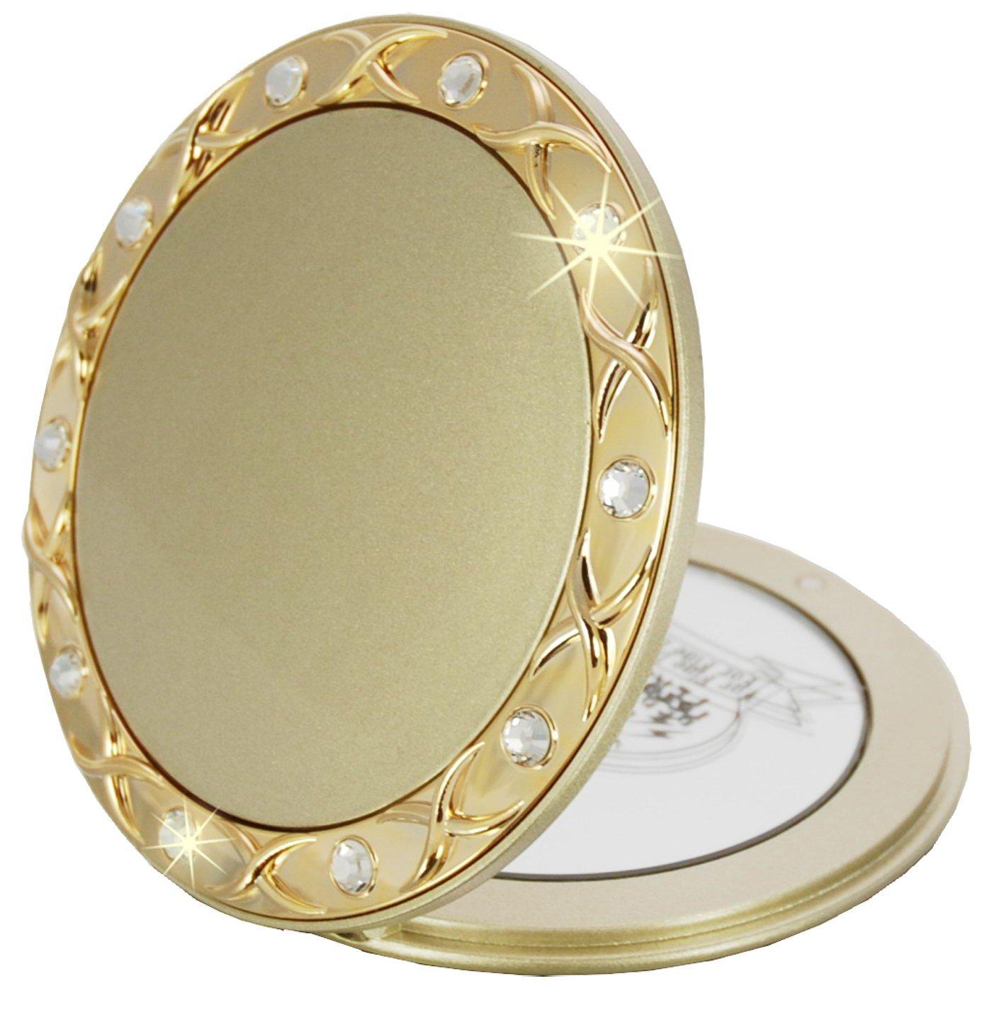 Fantasia Taschenspiegel, rund, 10-fach Vergrößerung, Swarovski Elements, 8.5 cm, gold 44072