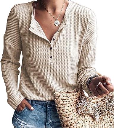 Moda Mujer Plaid Blusas Botón con Cuello En V Camisas De ...