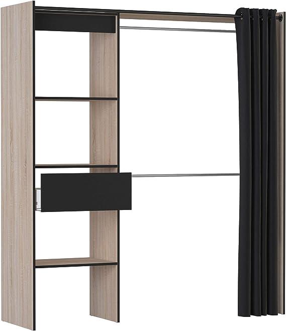 DEMEYERE Kit Armario Extensible 2 Barras colgadoras Columna con estantes y Cajon habitacion Dormitorio vestidor 187x168x50 cm