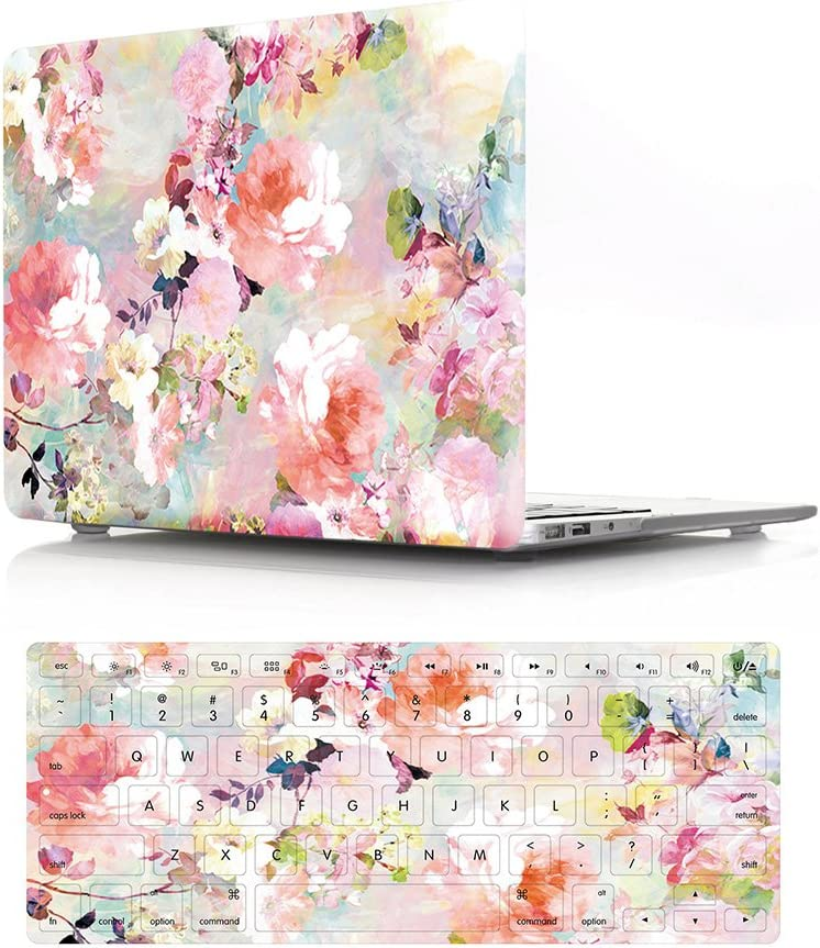 """HRH 2 in 1 Pink Watercolor Flower Laptop Body Shell Protective PC Hard Case Cover and Matching Silicone Keyboard Cover for MacBook Air 13.3""""Inch (A1466/A1369,Older Version Release 2010-2017)"""