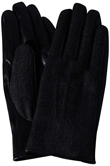 Herringbone Wool Sheep Leather Gloves 1337-699-1034: Dark Grey