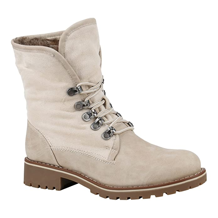 Worker Boots Damen Kunstfell Stiefeletten Bequeme Warm Gefüttert, Khaki, 36