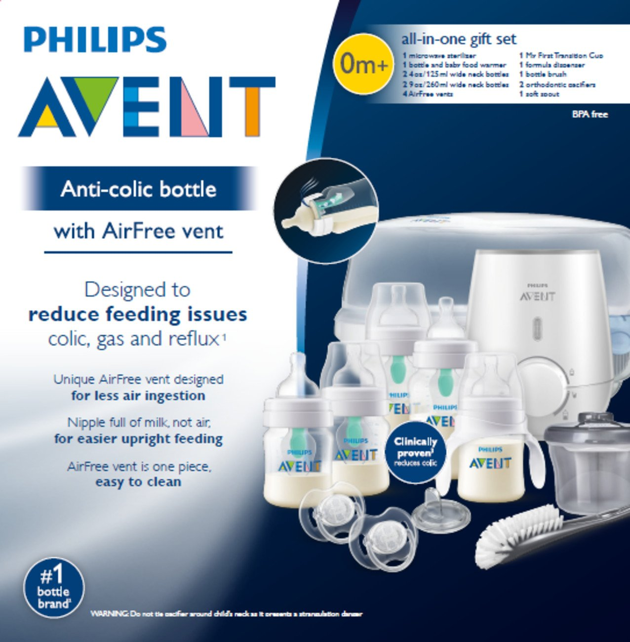 29e61bd19fb Amazon.com   Philips Avent Anti-colic Baby Bottle with AirFree vent Gift  Set All In One
