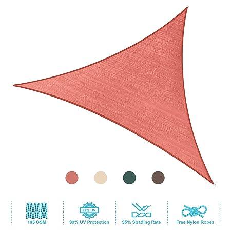 PHI VILLA Sun Shade Sail Triangle 16.5 x16.5 x16.5 Terra Cotta Patio Canopy Cover – UV Bloack – for Patio, Garden, Yard, Pergola