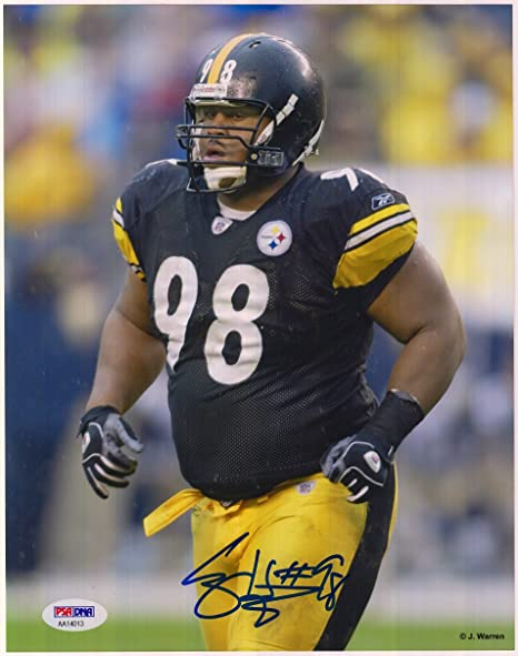 de159cf46 Image Unavailable. Image not available for. Color  Casey Hampton  Autographed Pittsburgh Steelers ...