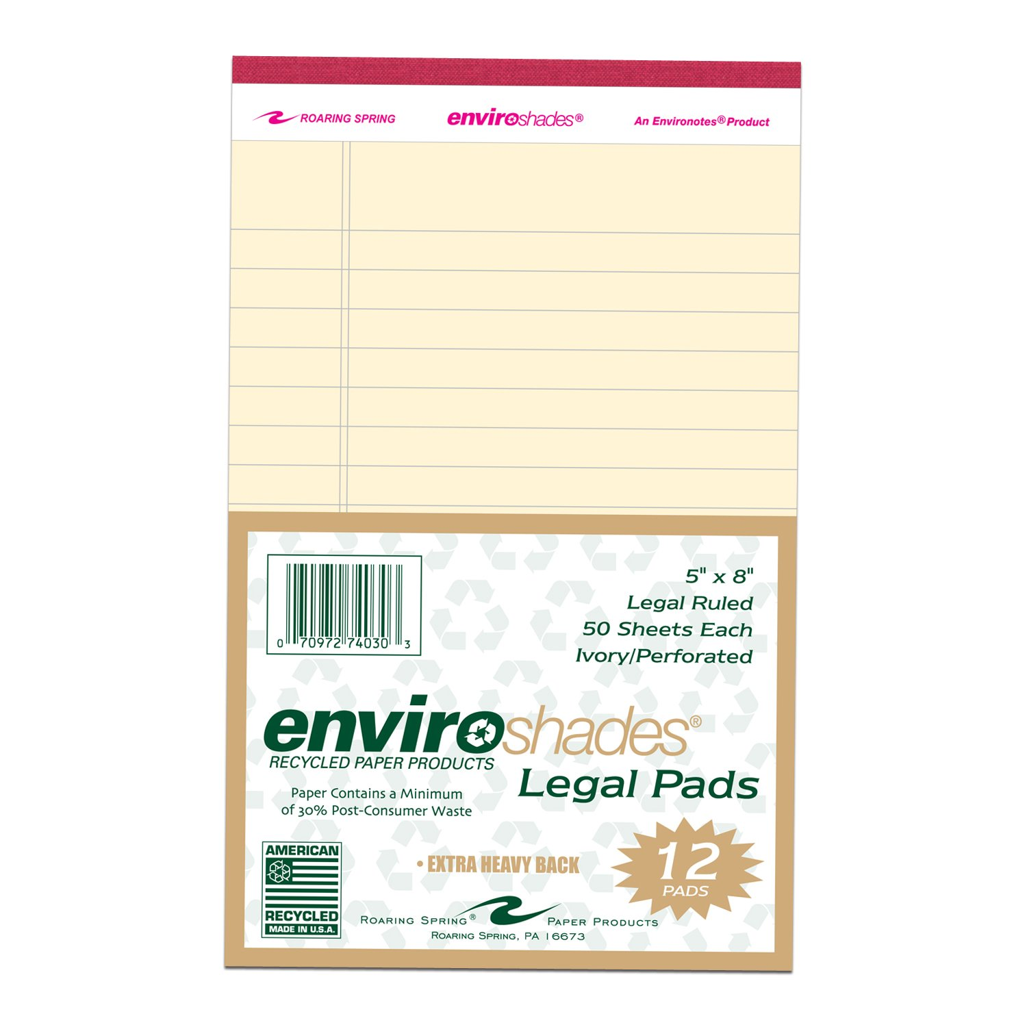 Roaring Spring Enviroshades 5x8 Assorted Legal Pad 4/Pack Roaring Spring Paper Products 74000