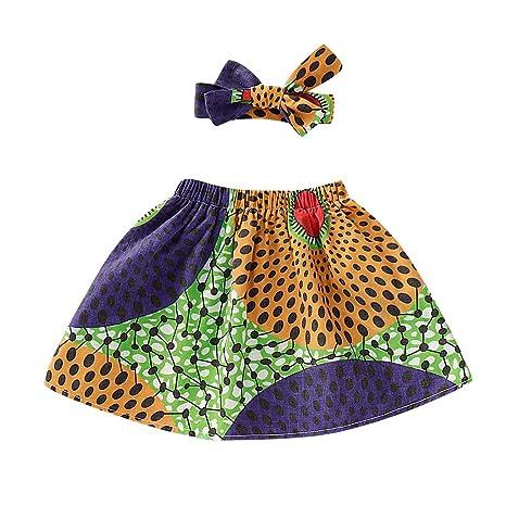 Sayla - Conjunto de falda para niña con falda africana con diadema ...