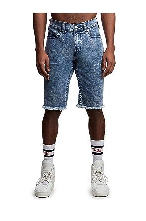 5437cc025 True Religion Men s Ricky Straight Fit Stretch Denim Jean Shorts om  Sapphire Bolt ...