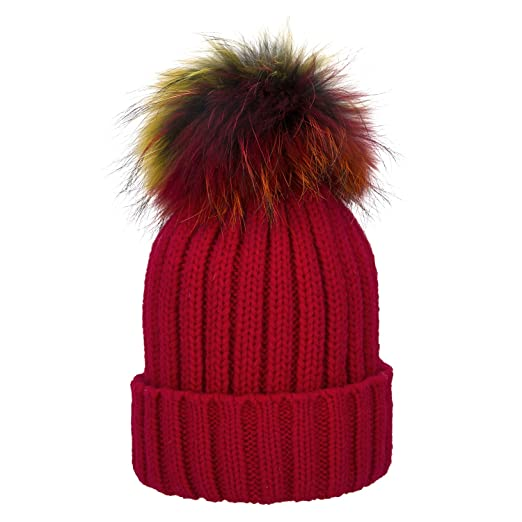 1e4392472da Brecoy Womens Girls Winter Detachable Large Raccoon Fur Pom Pom Cap Knit  Beanie Hat (Red