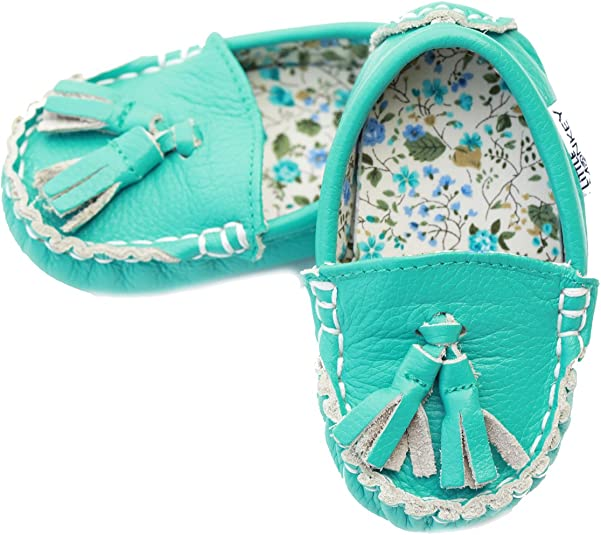 Little Monkey Fashion Caribbean Cuties Leather and Fabric Lined Moccasin Shoes 6-12 Months