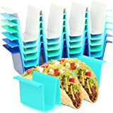 Youngever 8 Pack Plastic Taco Holder Stand, Dishwasher Top Rack Safe, Microwave Safe, Set of 8 Assorted Colors (Coastal)