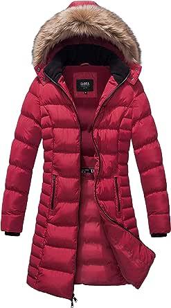 ELORA Women's Winter Maxi Puffer Long Length Coat Fur Trim Removable Hood