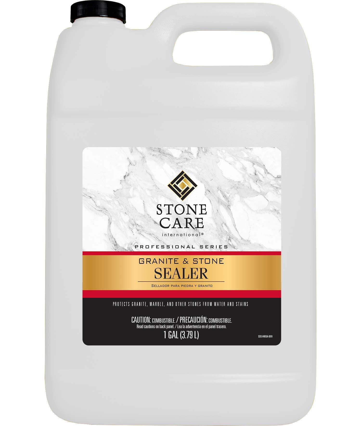 Stone Care International Professional Granite & Stone Sealer 128 fl oz [1 Gallon] - Protect Your Stone Marble Granite Travertine Limestone Countertop Fireplace Patio - Streak Free