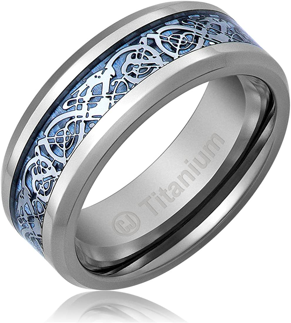 Cavalier Jewelers 8MM Mens Titanium Ring Wedding Band Black and Red Carbon Fiber Inlay and Beveled Edges