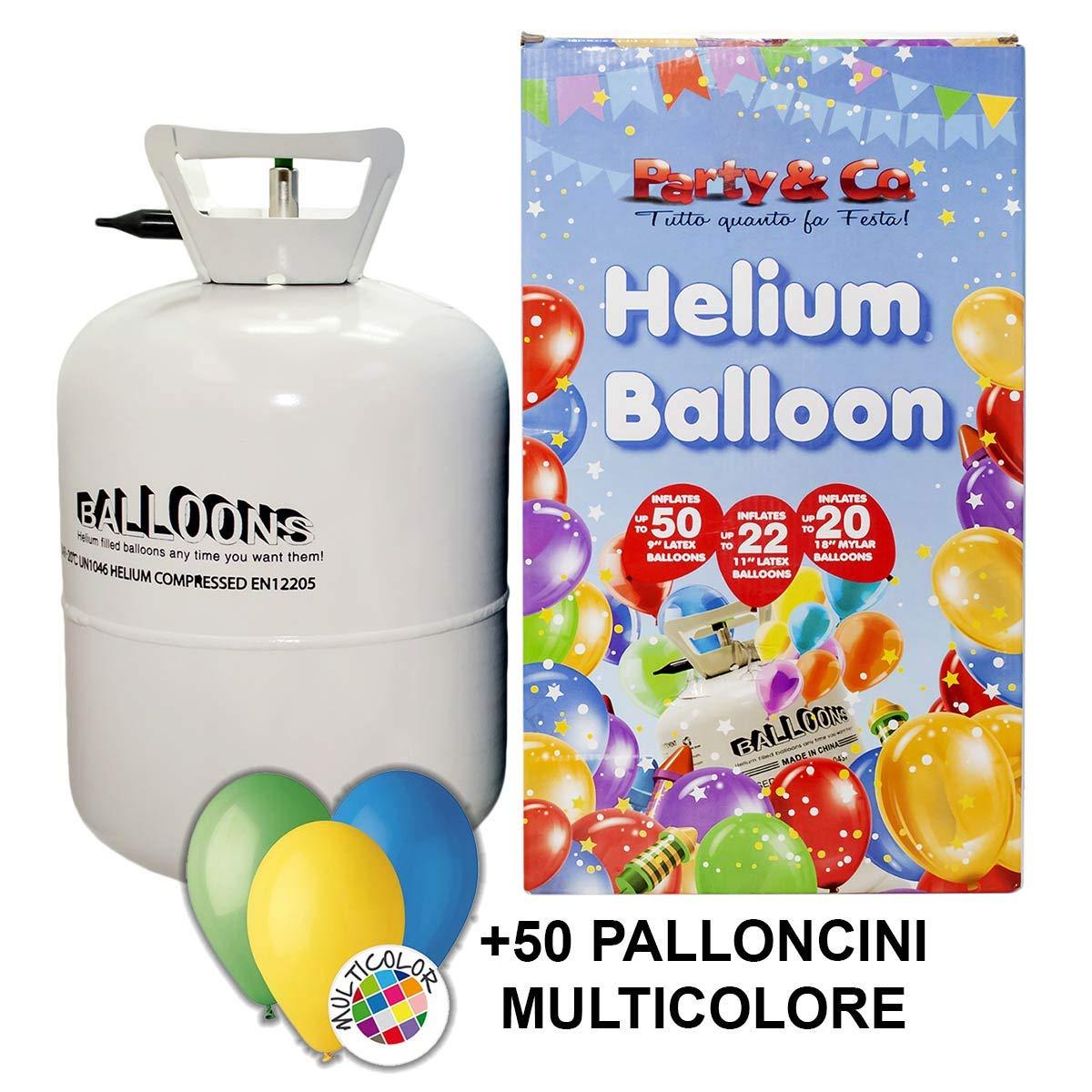 Bombola gas elio grande con 50 palloncini per feste balloon art compleanni matrimonio eventi Party & Co.