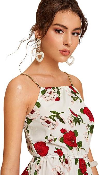 Vestido de Tirante con Flores para Verano o Vacaciones SOLY HUX Mujer Vestidos Largos sin Mangas