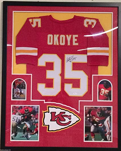 78d42e67d98 Image Unavailable. Image not available for. Color  Framed Christian Okoye Autographed  Signed Kansas City Chiefs Jersey JSA