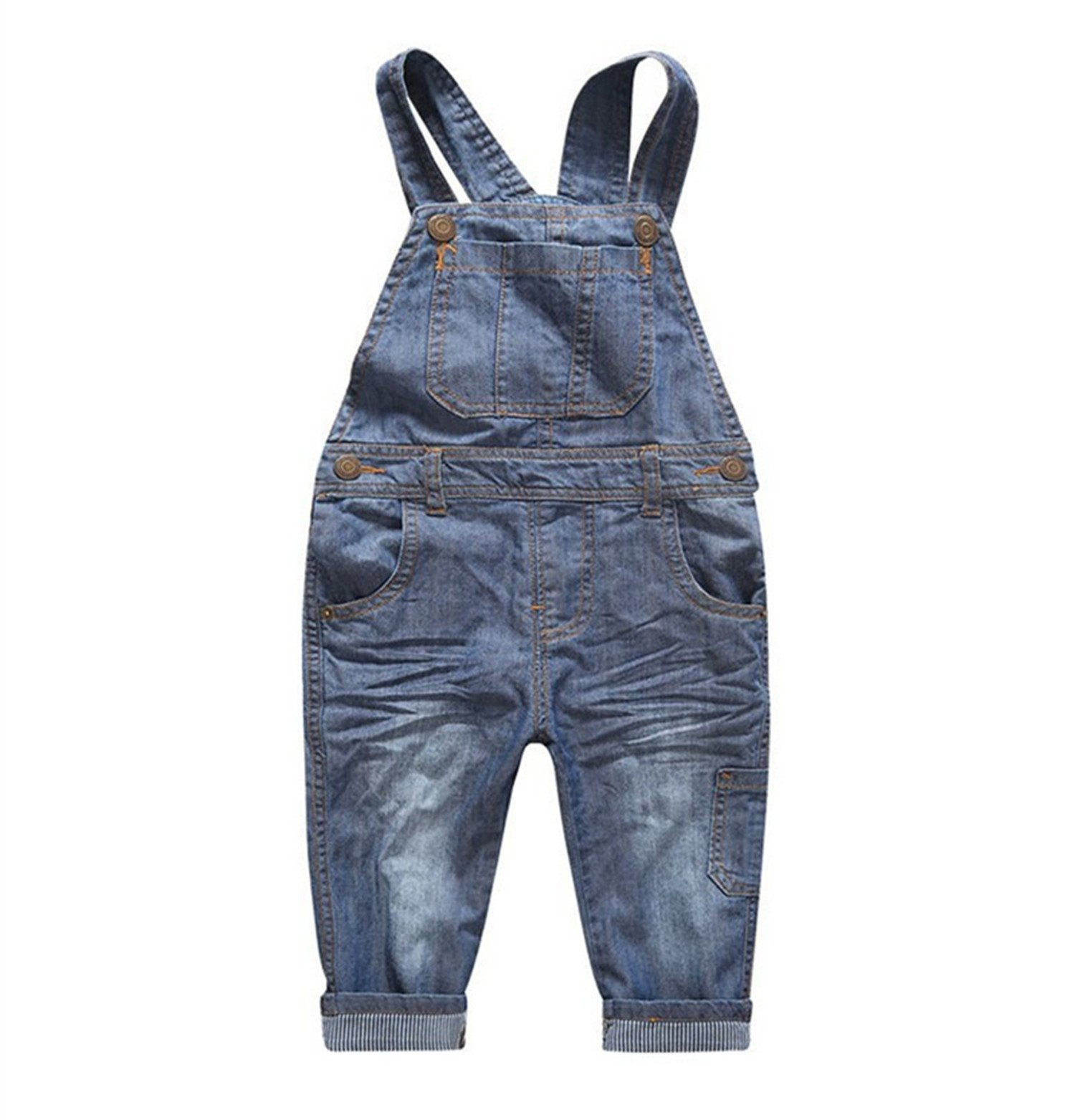 Hoared Denim Overalls Solid Loose Spring Summer Fashion Kids Trousers Overalls Casual Pants Blue 3T