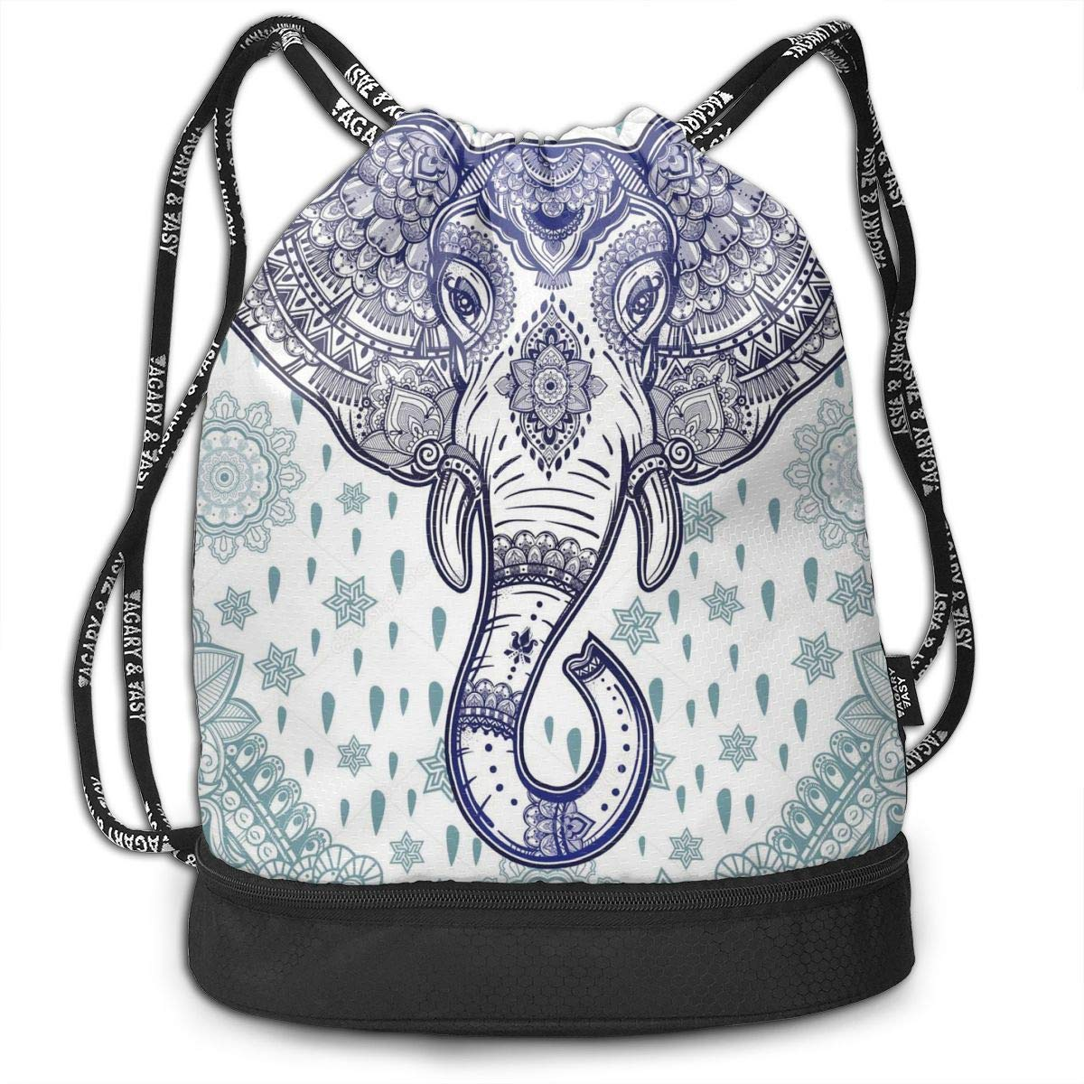 HUOPR5Q Heart Wolf Boho Ethnic Elephant Drawstring Backpack Sport Gym Sack Shoulder Bulk Bag Dance Bag for School Travel