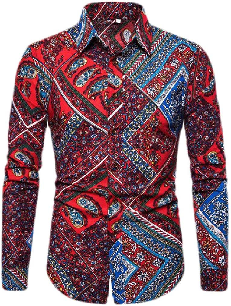 Sweatwater Mens Lapel Neck Tropical Printed Casual Long Sleeve Button Down Shirts