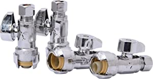 SharkBite 23037LFA4 Straight Stop Valve, 1/2 inch x 1/4 inch, Compression Fitting, Water Valve Shut Off, Push-to-Connect, PEX, Copper, CPVC, PE-RT, Pack of 4