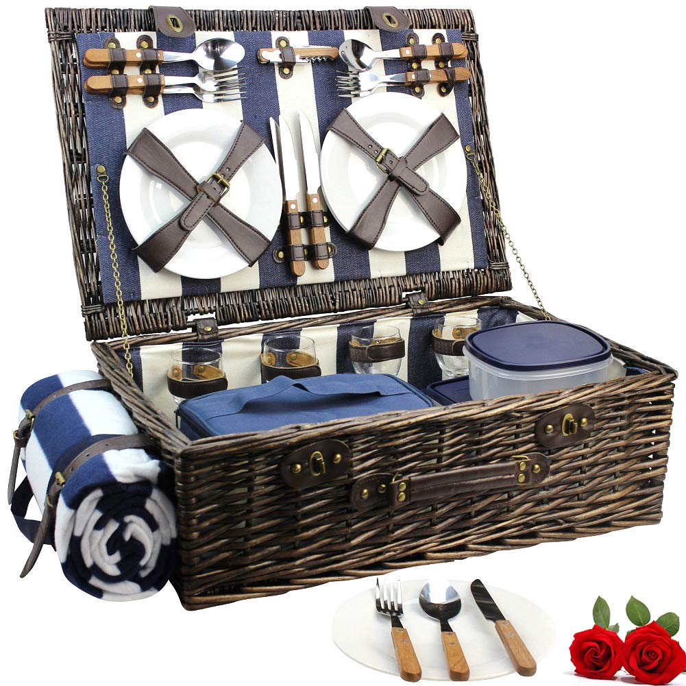 HappyPicnic Extra Large Willow Picnic Basket with Service Set for 4 Persons, Natural Wicker Picnic Hamper with Free Food Cooler, Fleece Blanket and Tableware - Best Gift for Mothers Day