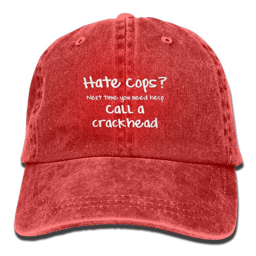 Hate COPS Call A Crackhead Plain Adjustable Cowboy Cap Denim Hat for Women and Men