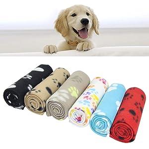 AK KYC 6 Pack Mixed Puppy Blanket Cushion Dog Cat Fleece Blankets Pet Sleep Mat Pad Bed Cover Paw Print Kitten Soft Warm Blanket Animals