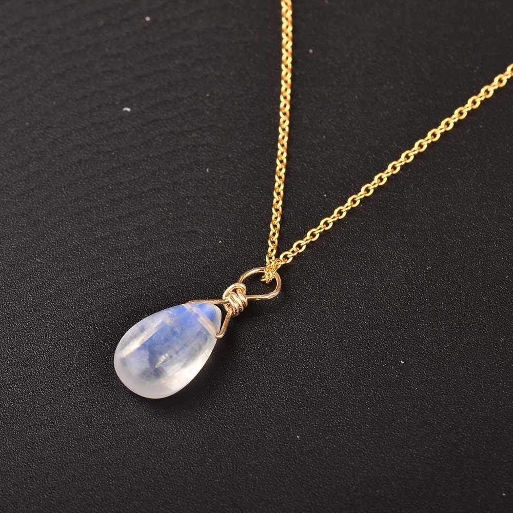 maofan Joyería De Piedra Lunar Natural, Collares Colgantes De Mujer, Regalos De Joyería Elegantes Azul Claro