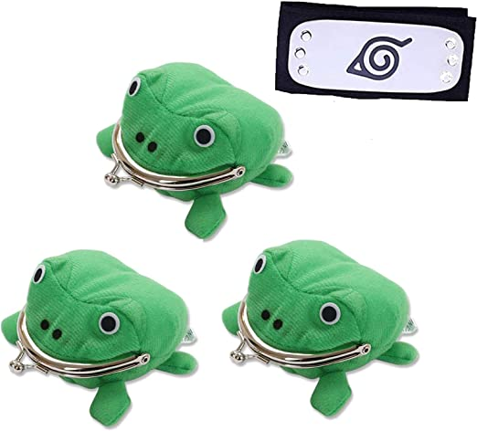 3 Pcs Anime Shippuden Cosplay Plush Green Frog Coin Purse Wallet with Ninja Headband, Funny Plush Toy Change Pouch Wallet for Halloween Christmas Cosplay Ninja Themed Party Cosplay Props