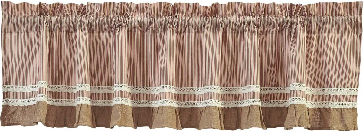 VHC Brands Classic Country Farmhouse Kitchen Window Curtains – Kendra Stripe White Valance, 19 x 72 , Red