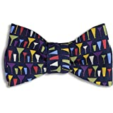 Josh Bach Men's Mod Cocktail Glasses Self Tie Silk Bow Tie in Black, Made in USA