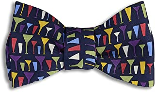 product image for Josh Bach Men's Mod Cocktail Glasses Self Tie Silk Bow Tie in Black, Made in USA