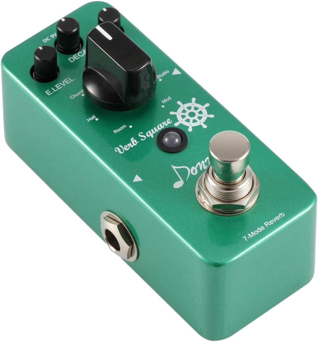 Donner Reverb Guitar Pedal, Verb Square Digital Reverb 7 Modes Room, Hall, Church, Spring, Plate, Studio, Mod, True Bypass