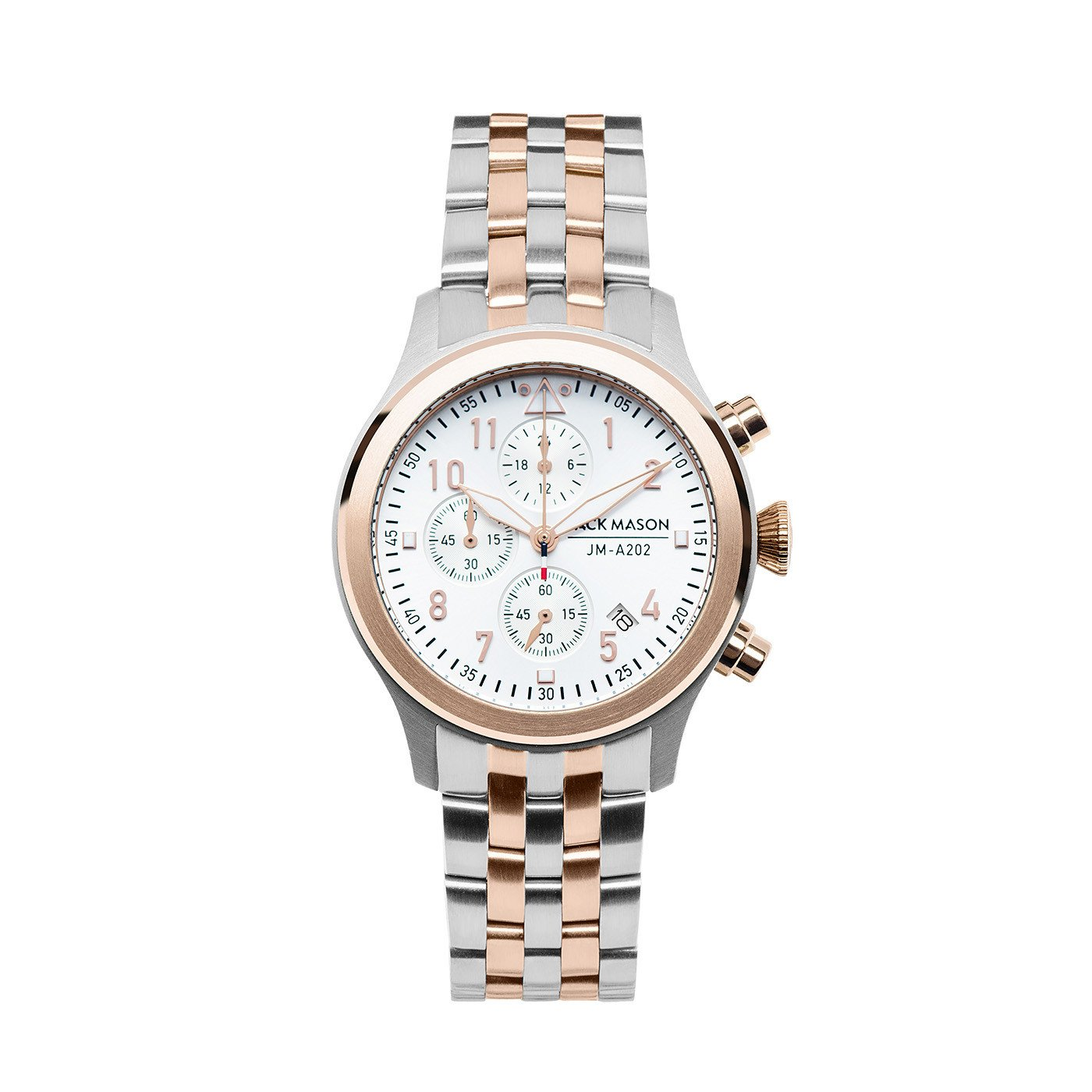 Jack Mason Women's Chronograph Watch Aviator Two Tone Stainless Steel Bracelet JM-A202-224