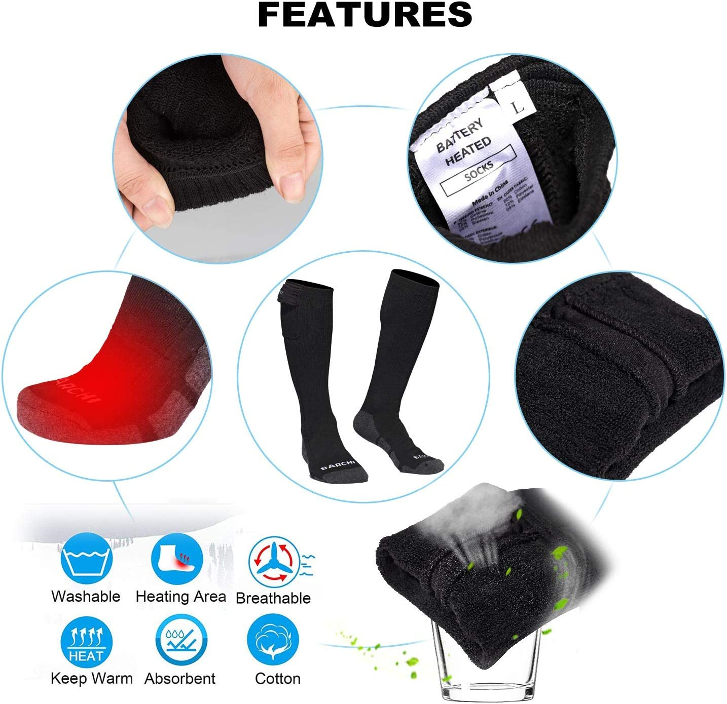 BARCHI HEAT 12V Heated Socks,Men Women Electric Rechargeable Battery Motorcycle Socks,Winter Skiing Cotton Coolmax Socks,Foot Feet Warmers for Riders Bikers,Support Powered by Moto Battery