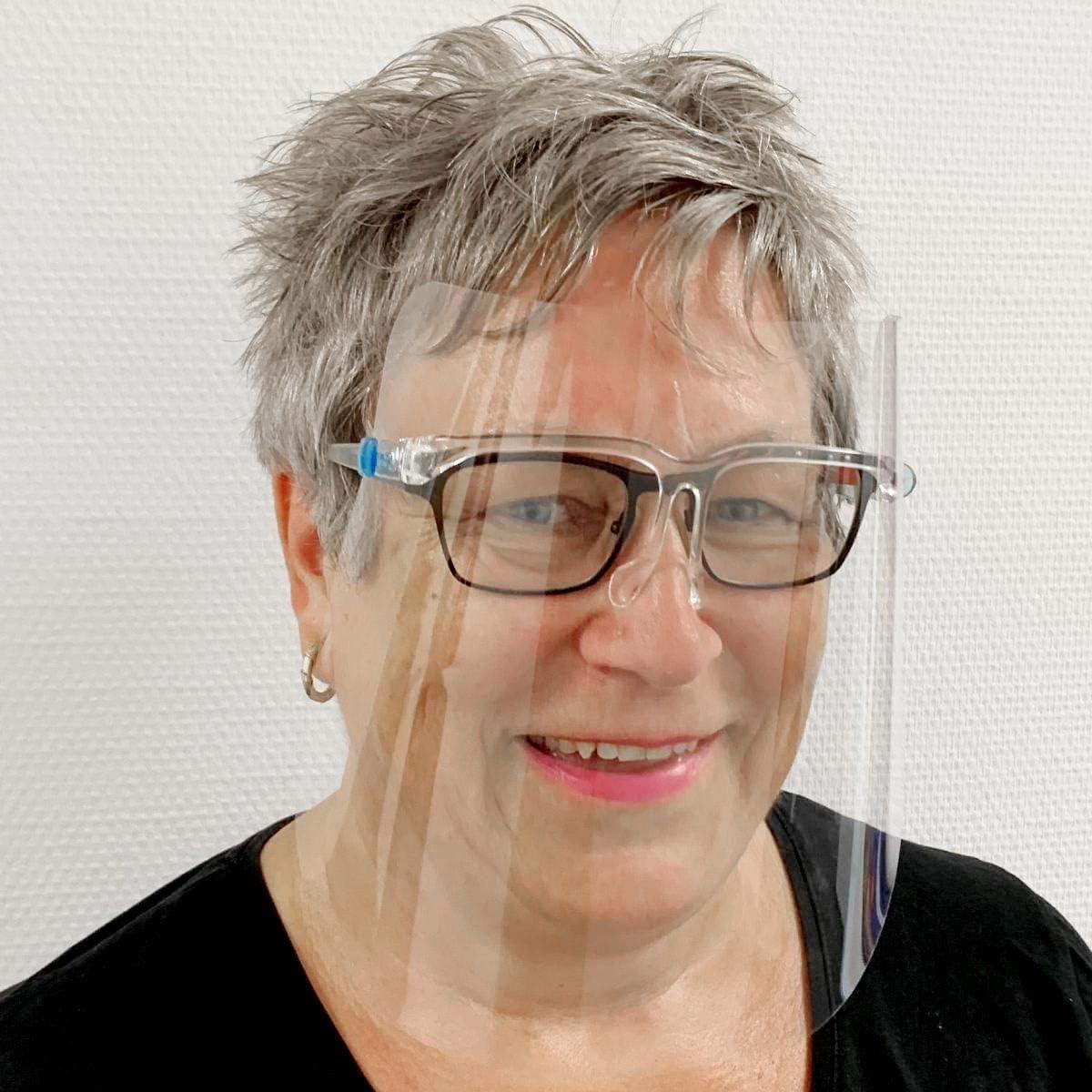 10 St/ück Gesichtsschild Face Shield Schutzvisier Brillenschild mit Brillengestell Mundschutz(4 freie Handschuhe) Vakuumverpackung